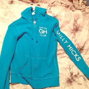 GILLY HICKS hoodie blue zip up w hood