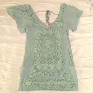 Mint lace detail top