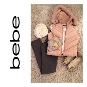 bebe Outerwear - Bebe down Vest w/ detachable rabbit fur lined hood