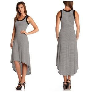 Black + White Stripe Hi-Lo Maxi Dress