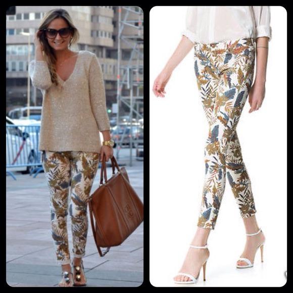 36624b17 Zara Jeans | Floral Printed Trousers Skinny Denim | Poshmark