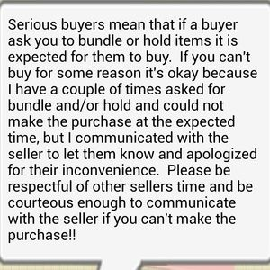 Other - Serious buyers, communication is important on Posh