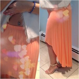 F21 High- Low Apricot Skirt