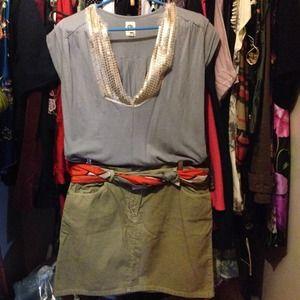 JCREW light green cord skirt 14