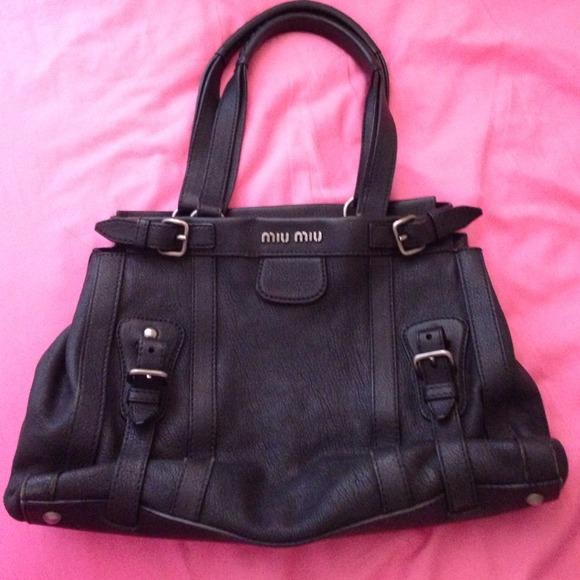 details for dfb33 35813 100 genuine miu miu black leather tote bag ... bbf83a11d75ca
