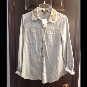 Studded denim button down shirt