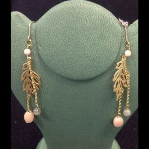 Gold pink leaf dangle earrings