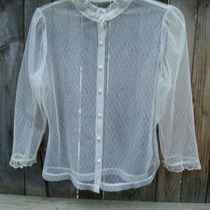 SALE Vintage White Lace Button Up Blouse Top S/M