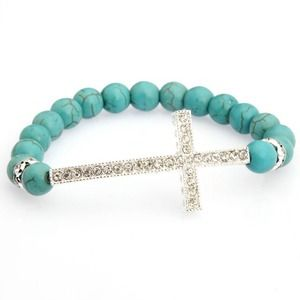 New Aqua Beaded Rhinestone Cross Bracelet!