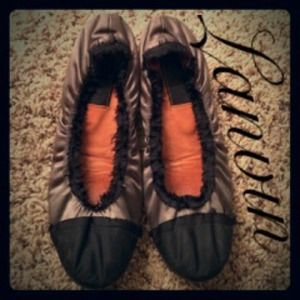 Lanvin Shoes - 💯 Lanvin Ballet Satin Flats Grey Black 36.5