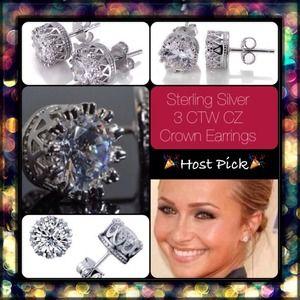Jewelry - 3 CTW CZs Sterling Silver Crown Earrings