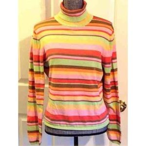 Striped Talbots Turtle Neck L/S sweater Large