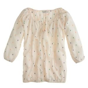 J.crew ivory embroidery peasant top