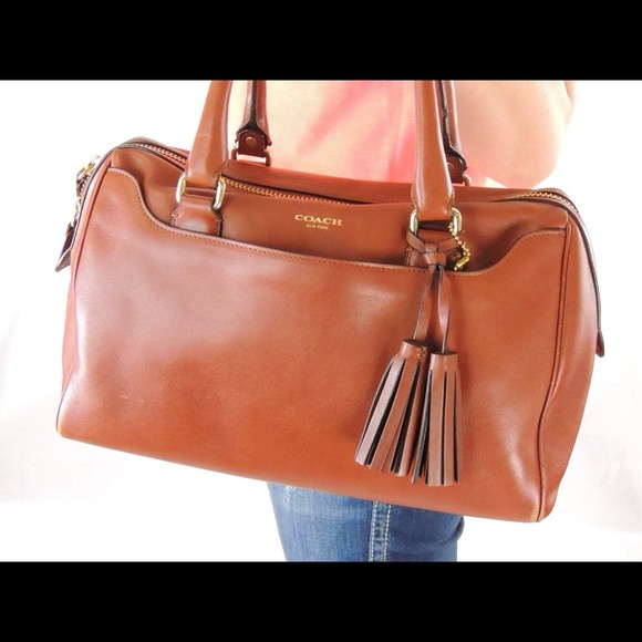24% off Coach Handbags - Coach Cognac Legacy Haley Satchel from ...