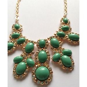 Turquoise Green Oval Statement Necklace