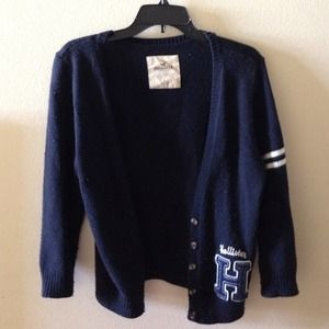 Hollister Sweaters - HOLLISTER navy cardigan sweater