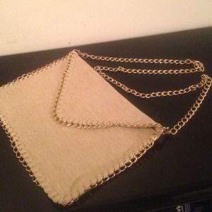 Cream clutch purse