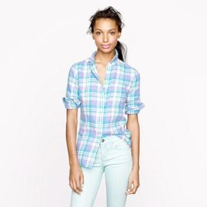 J. Crew Tops - Boy shirt in peri plaid