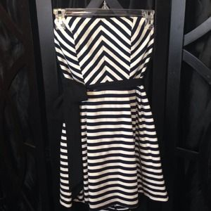 Short A-Line Black and White Striped Dress