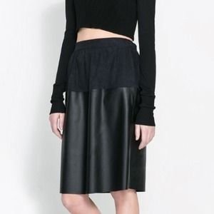 Zara Dresses & Skirts - Faux Leather Combination Skirt
