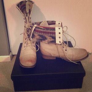 Aztec print combat boots