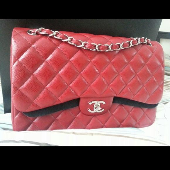 6877cda4e059 CHANEL Bags | Authentic 12a Red Caviar Jumbo | Poshmark