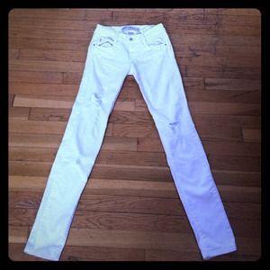 Zara white ripped skinny jeans