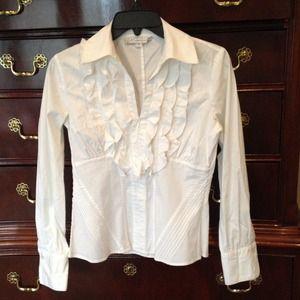 White ruffle long sleeve shirt