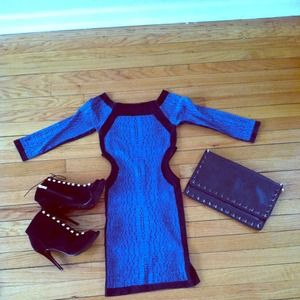  Blue BeBe bodycon side cut out dress