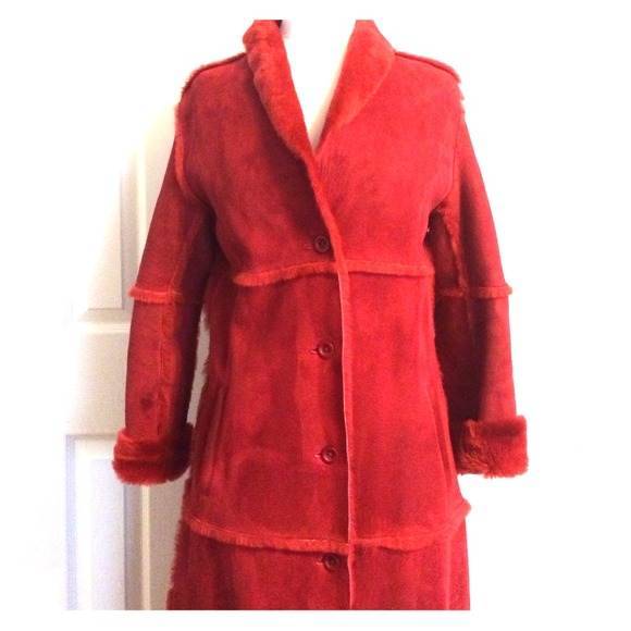 88% off Hugo Buscati Outerwear - Red Shearling Coat from Moneek's ...