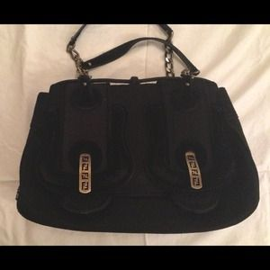 Authentic Fendi Black B-Bag cashmere/velvet Bag