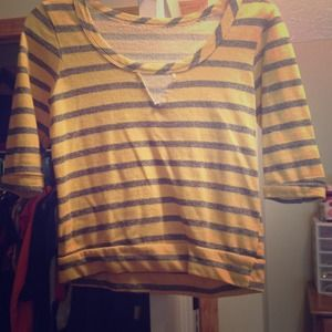 Yellow and gray striped crop sweater