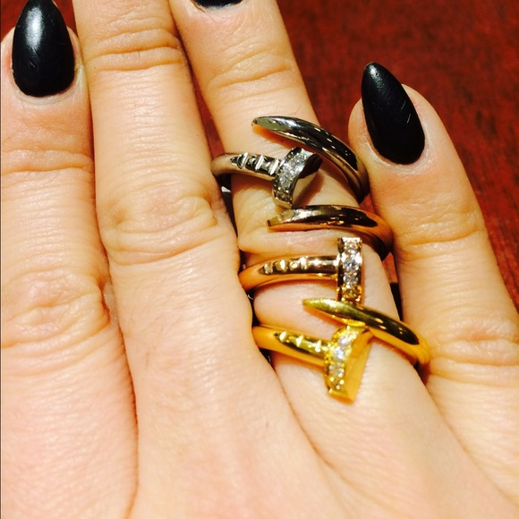 little bit of luck shop Jewelry | Nail Ring With Stones | Poshmark