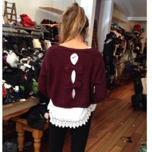 LF Sweaters - LF maroon bow back sweater