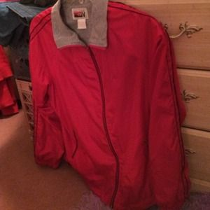 Red jogging jacket