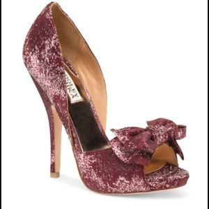 Badgley Mischka metallic wine peeptoe pumps NIB