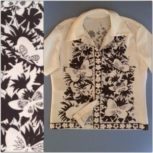 Vintage short sleeve jacket over shirt. Butterfly