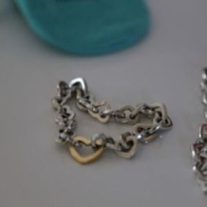 Tiffany & Co 18k & Silver Heart Link Bracelet