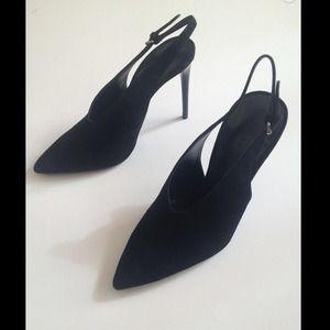 Zara Black Suede Sling back Heels size 6.5