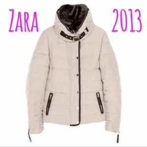 Zara beige short puffer coat-Winter 2013
