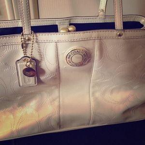 Coach white purse monogram print