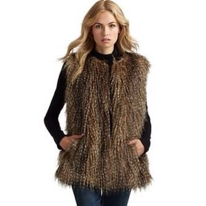 Express Feathered Faux Fur Vest
