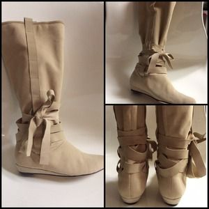 🎀 DOLCE VITA Beige Ballerina Ribbon Boots Shoes