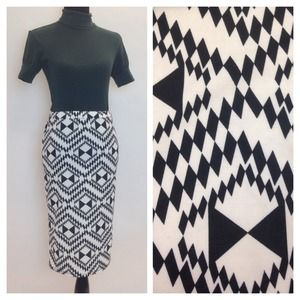 Moa Dresses & Skirts - NWOT Black & White Geometric Pencil Skirt