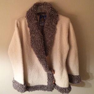 Hand knit tan and gray sweater