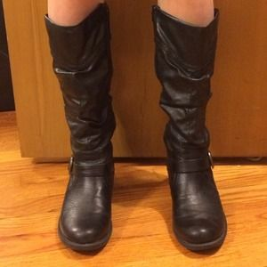"Mid-calf synthetic ""leather"" boots"