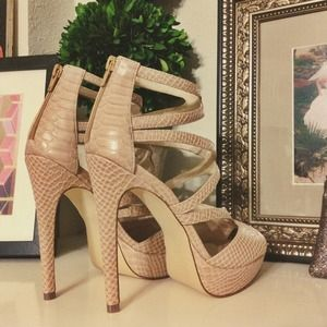 Shoes - Snakeskin Gladiator Heels