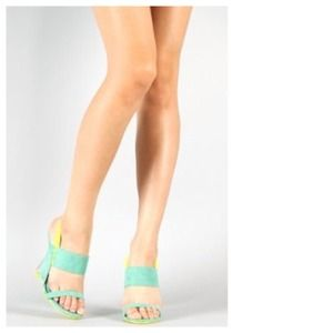 SALE Faux Mint & Yellow Suede + Clear Lucite Heels
