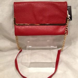 SALE NWT VERY Red Clutch or purse w Gold Detail.