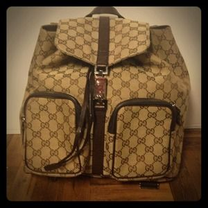 Authentic Gucci monogram backpack